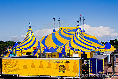 A yellow and blue circus tent. Editorial Stock Image