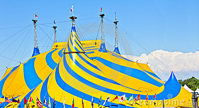 A yellow and blue circus tent. Editorial Image