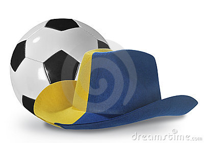 Yellow-blue cowboy hat and soccer ball