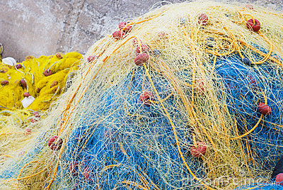 Yellow and blue  fishing net