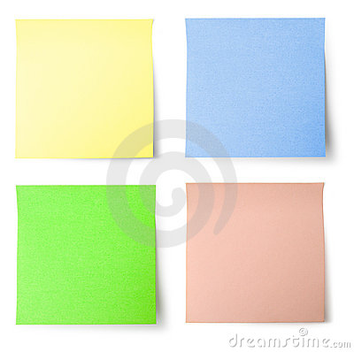 Free Yellow, Blue, Green And Pink Note Paper Royalty Free Stock Photography - 1378587