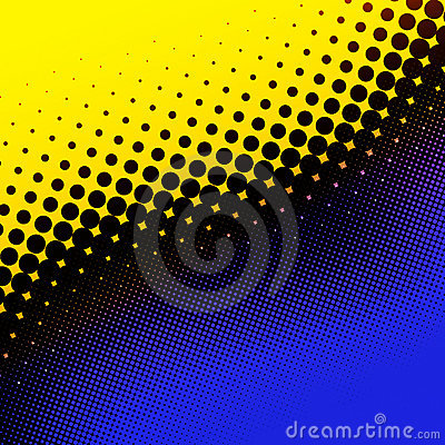 Yellow and blue halftone