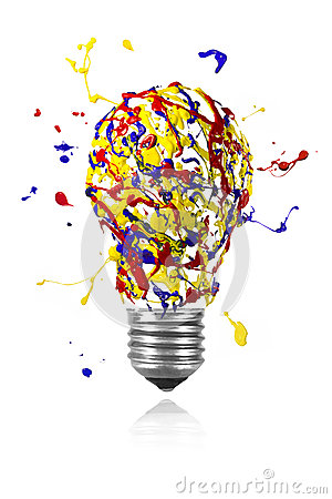 Free Yellow Blue Red Paint Splah Made Light Bulb Royalty Free Stock Images - 41252209