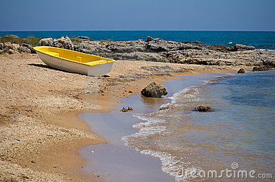 Yellow boat at the shore