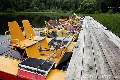 Yellow boat. Summer time