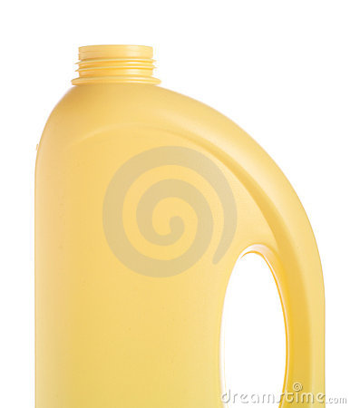Yellow bottle of domestic cleaner