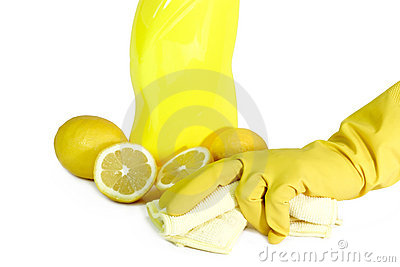 A yellow bottle of household cleaner