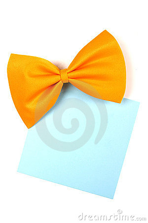 Yellow bowtie with blank paper note