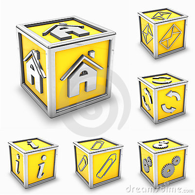 Yellow box icon set