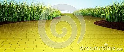 Yellow brick road Stock Photo