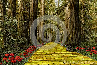 Yellow Brick Road leading through a forest Stock Photo