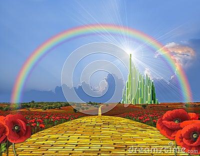 Yellow brick road to Oz Cartoon Illustration