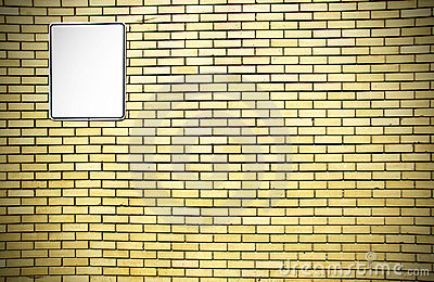 Yellow brick wall and white sign