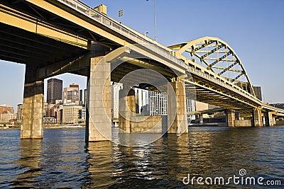 Yellow Bridge in Downtown Pittsburgh
