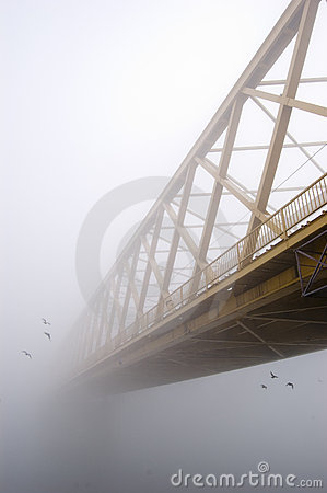 Free Yellow Bridge In The Fog Royalty Free Stock Photos - 11080158