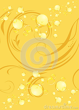 Yellow bubbles on the decorative background