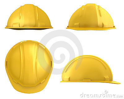 Yellow builder s helmet four views