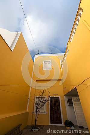 A yellow building