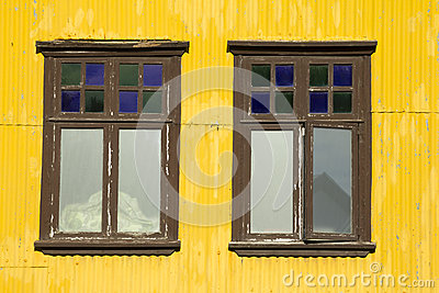 Yellow building and windows