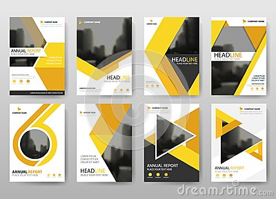 Yellow bundle annual report brochure flyer design template vector, Leaflet cover presentation abstract flat background, Vector Illustration