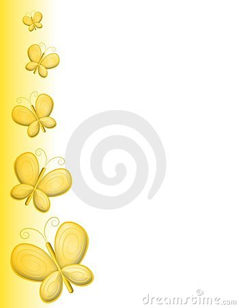 Yellow Butterfly Page ...Clipart Flowers And Butterflies Border
