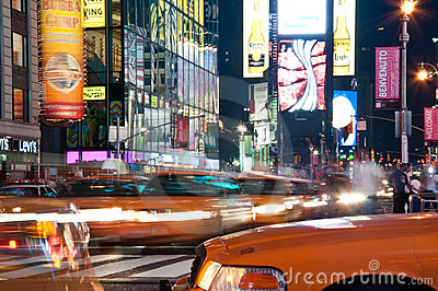 Yellow cabs at Times Square Editorial Stock Image