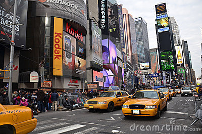 Yellow cabs in Times Square Editorial Photo