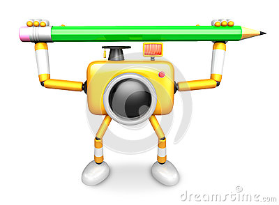 Yellow camera with both hands holding a large pencil. Create 3D