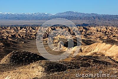 Yellow canyon in deserts of Kazakhstan