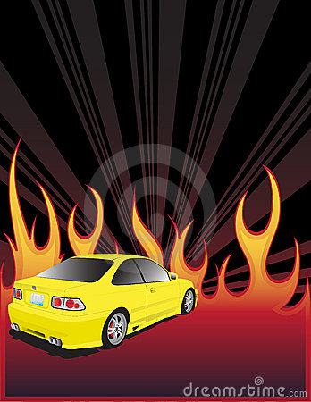 Yellow car and fire