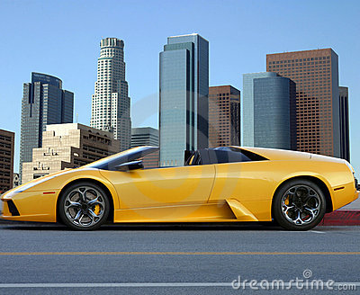 yellow car in los angeles down royalty free stock photography image 3345787. Black Bedroom Furniture Sets. Home Design Ideas