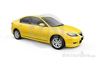 Yellow Car w/ Clipping Path