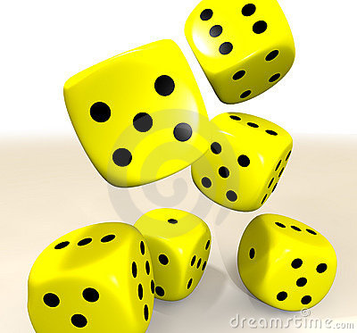 Yellow casino dice