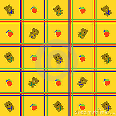 Yellow, cellular background with toys