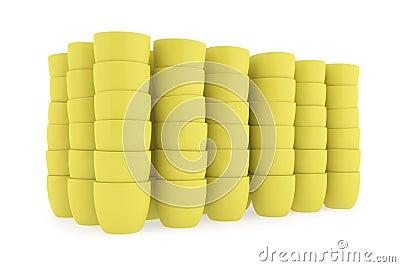 Yellow ceramics flowerpot set, rendered models
