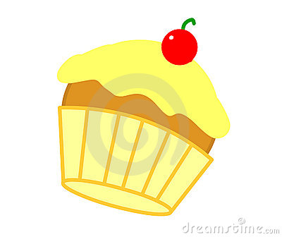 Yellow cherry cupcake