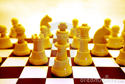 Yellow chessboard and pieces