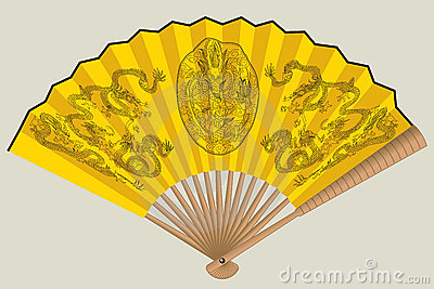Yellow chinese fan with dragons