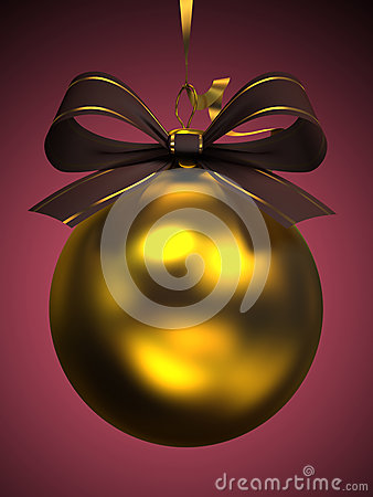 Yellow christmas ball isolated