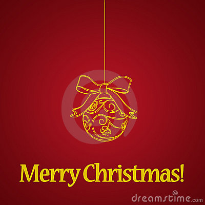 Yellow christmas ball on red background