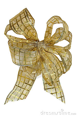 Yellow Christmas Bow over White Background