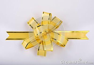 Yellow christmas gift ribbon and bow