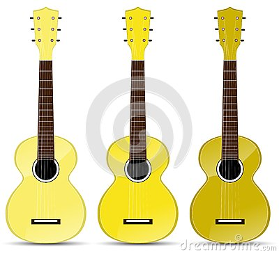 Yellow classical acoustic guitar