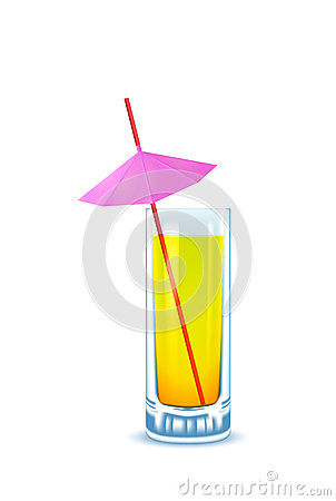 Yellow cocktail glass with straw and umbrella