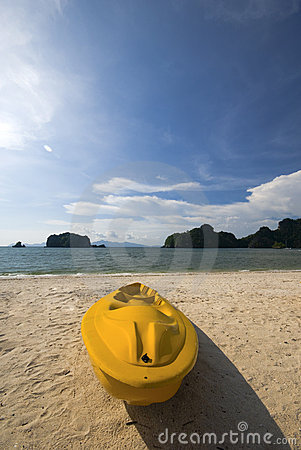 Yellow colored kayak