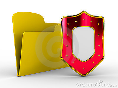 Yellow computer folder with shield