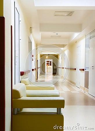 Yellow corridor in hospital