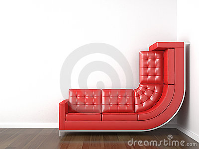 Yellow couch bended to climb up