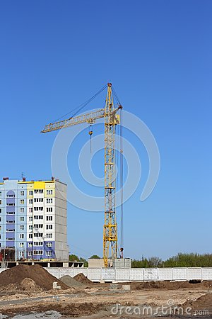 Yellow crane  on building site