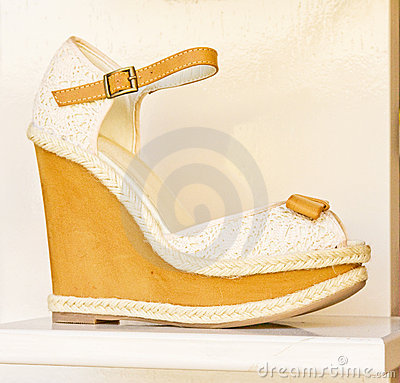 Yellow and cream sandal.